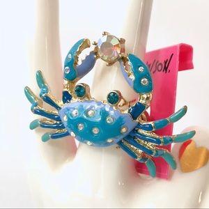 Betsey J 'Feeling Crabby' Blue Crab Ring  HTF/RARE